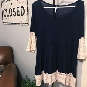 navy & lace flowy boutique tunic top